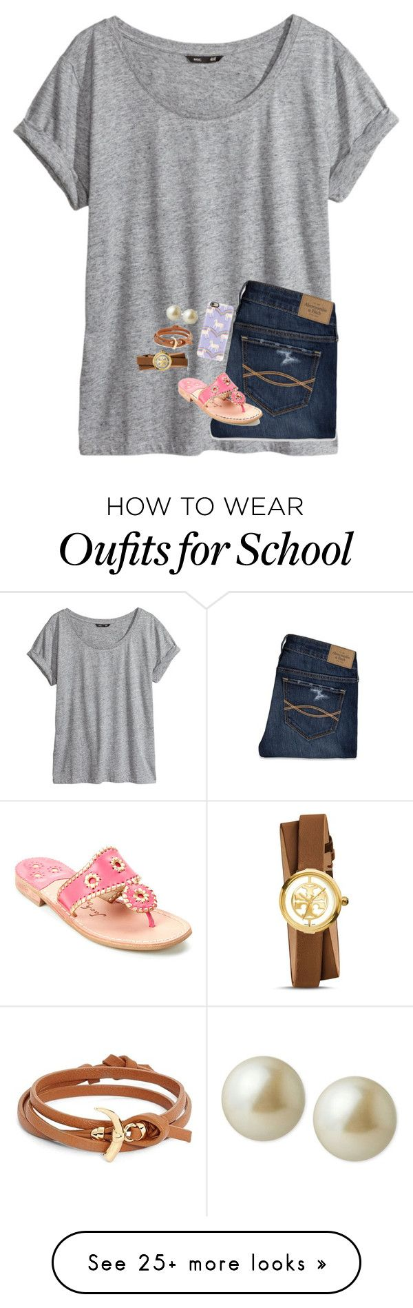 """So sick of school//Ava"" by preppy-group-account on Polyvore featuring H&M, Abercrombie & Fitch, Casetify, Jack Rogers, Carolee and Tory Burch"