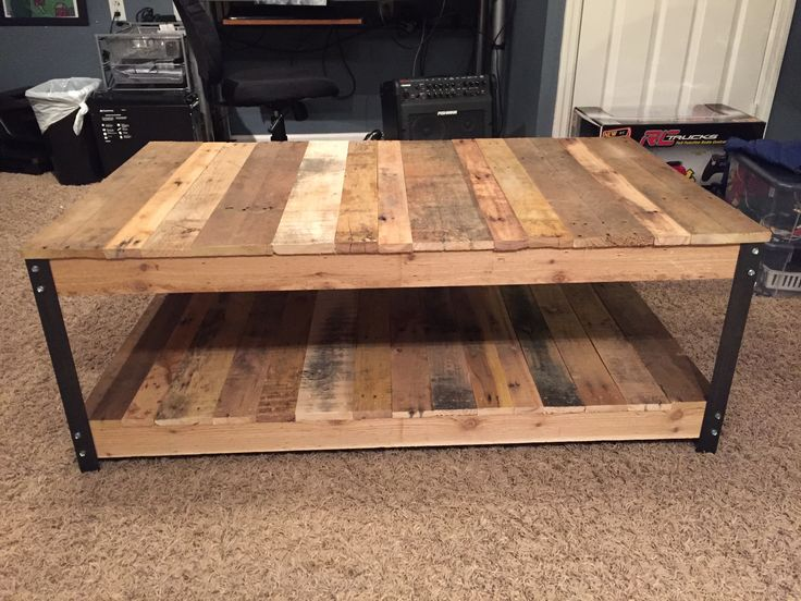 Diy coffee table made from pallet wood and angle iron for Coffee table craft ideas