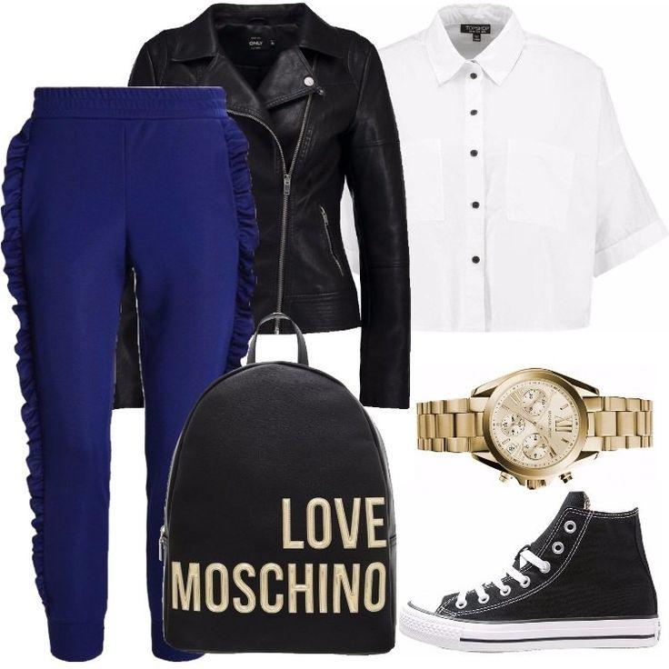 Per dare un po' di colore alle vostre giornate in università, ho scelto questo look composto da un pantalone blu, una camicia bianca ed una giacca in finta pelle.