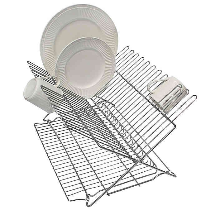 Better Houseware Metallic Folding Dish Rack In Silver Bed Bath