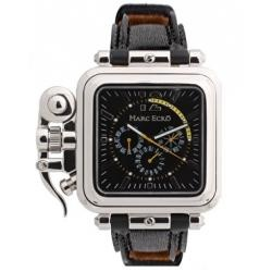 Marc Ecko E20058G1 The Brig Gents Watch with Black Dial and Black Leather Strap. via vibio.com