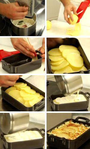 Stap voor stap aardappelgratin recept of gratin dauphinois zonder kaas