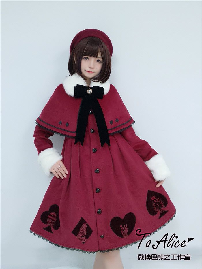Tomy Bear -The Queen of Hearts- Embroidery Lolita Cape and Coat Set