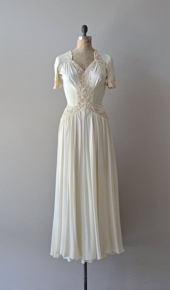 Reina Blanca dress vintage 1940s wedding dress 40s by DearGolden