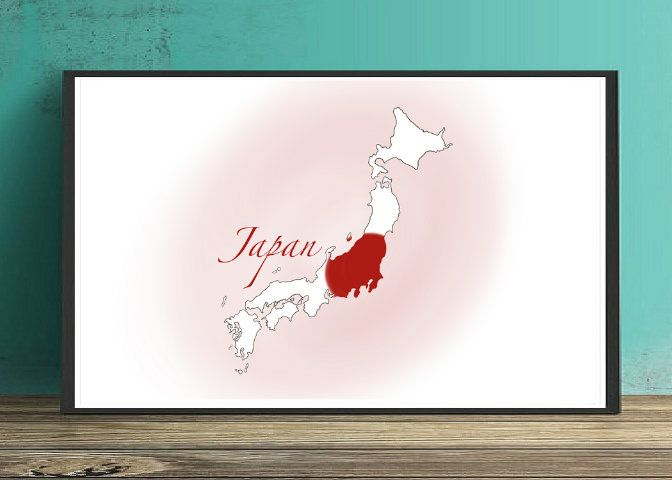 Japan Map And Flag Print Japan Print Japan Decor Printable Etsy Japan Decor Japan Map Map Print