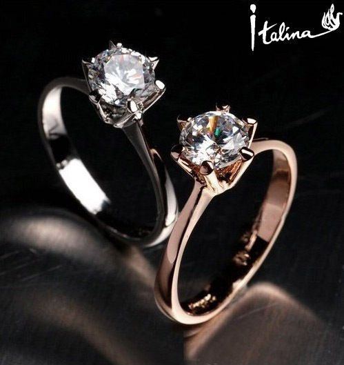 Italina 18K Rose Gold Plated Genuine Austrian Zircon Ring Anel For Women With Swarovski Crystal Stellux Cubic Zirconia #RG90786