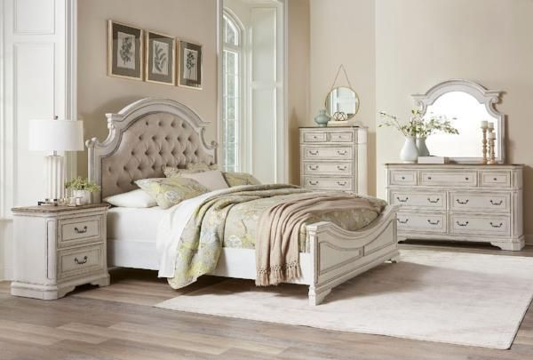 Classic And Comfortable Elegance Magnolia Delivers A Timeless Look For Your Bedroom Featuring A Distressed White Bedroom Sets Queen Bedroom Set Bedroom Sets
