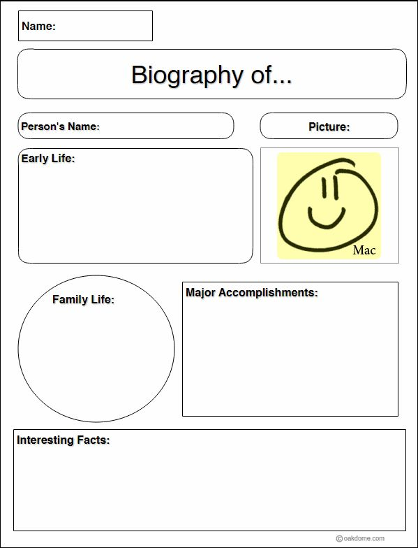 Biography Research Graphic Organizer for MAC - iPad