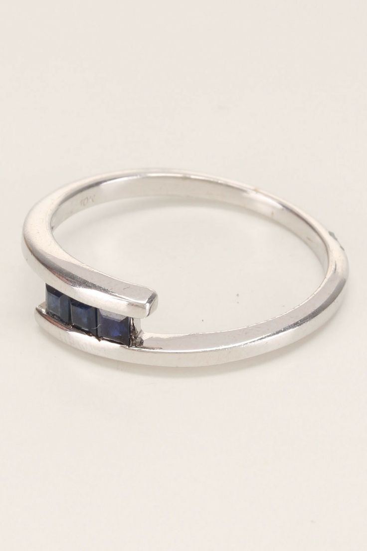 Three Sapphire Ring in 10k White Gold - Beyond the Rack