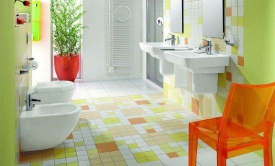 Mosaik Boden Orange Stuhl Kinder badezimmer