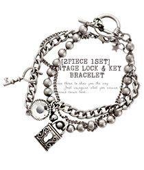 Vintage Lock And Key Bracelet