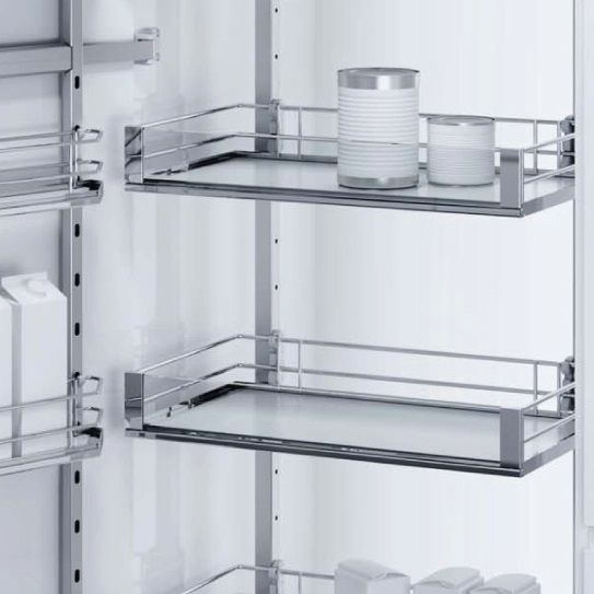 Love Vauth-Sagel's DUSA Pull Out Larder Unit. Available with three different basket options, this one is Artline - a solid base basket with lovely glass panels.