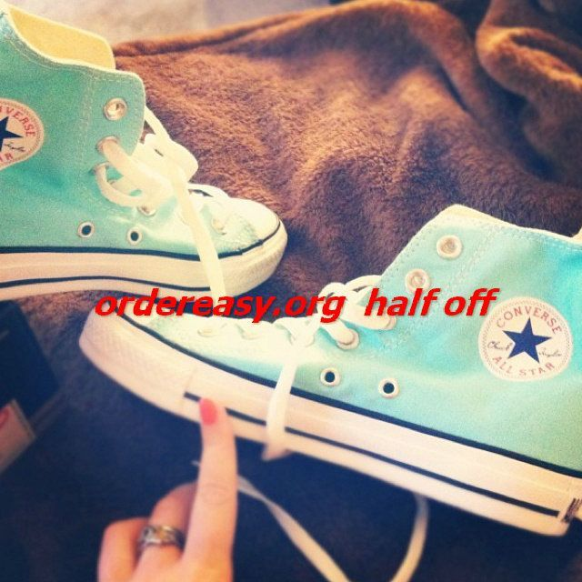 Tiffany blue converse with Swarovski crystals!! Must have!!     site full of 52% off #Womens #converse Shoes