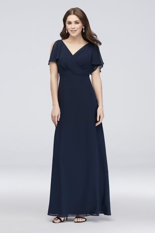 f837427c99b Flowy split sleeves and a draped surplice bodice top this easy-to-wear long chiffon  bridesmaid dress. By Reverie Polyester Back Zipper  fully lined Dry ...