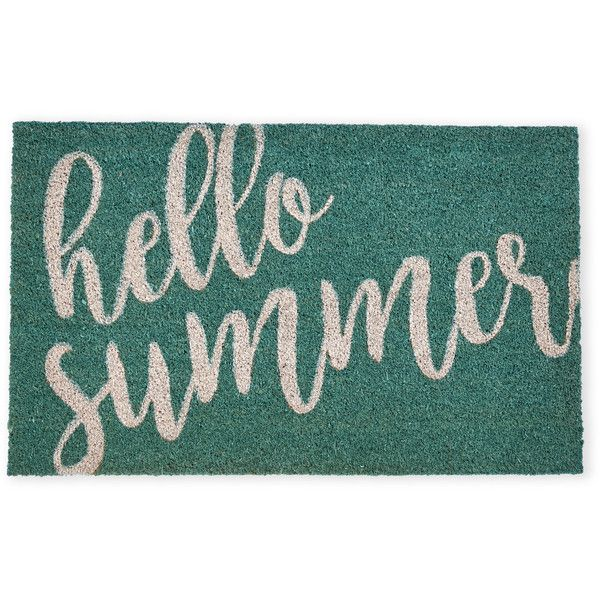 Harman Hello Summer Printed Mat (40 RON) ❤ liked on Polyvore featuring home, outdoors, outdoor decor, blue, outdoor mats, coir mat, blue mat, outdoor garden decor and coir outdoor mats