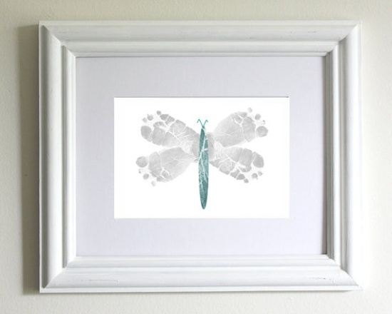 baby footprint crafts | Nursery Decor Baby Footprint Dragonfly by PitterPatterPrint, $24.00