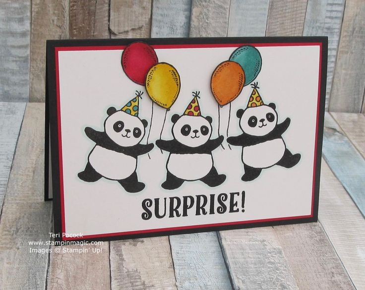 Party Pandas and Birthday Delivery by Stampin Up. Created by UK Independent Demonstrator Teri Pocock. Click through for more details.#teripocock #stampinup #stampinupuk #partypandas #birthdaydelivery #stampinblends