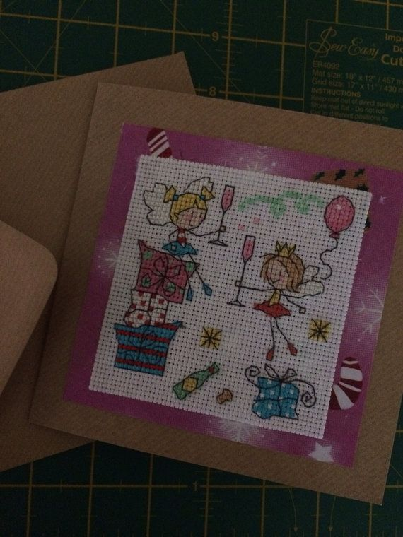 Christmas fairies hand sewn Christmas card by lovewithcards