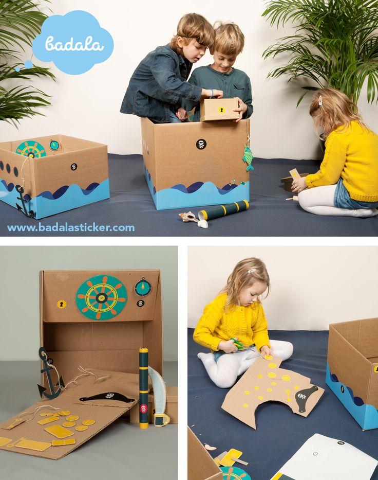 Our sticker set PIRATE SHIP lets your kid boat the world in a carboard box turned ship. So be careful: your sofa might be conquered at any time!  badala, Sticker, Fantasie, Rollenspiel, Spaß, Schachtel, umweltschonendes Spielzeug, Pirat, Insel, basteln, verwandeln, Schatzkarte, Altpapier, Karton, selbermachen, DIY, stickers, imagination, roleplay, FUNforKIDS, kids love boxes, cardboard, eco-friendlytoys, tinker, box, wastepaper, cardboardboxes, upcycling, pirate, treasuremap, island