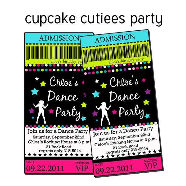 Dance Party POP Neon rock Star Digital Custom Invitation Tickets Printable u PRINT. $12.00, via Etsy.