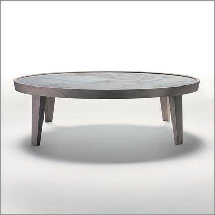 flexform dida round marble coffee table, solid wood