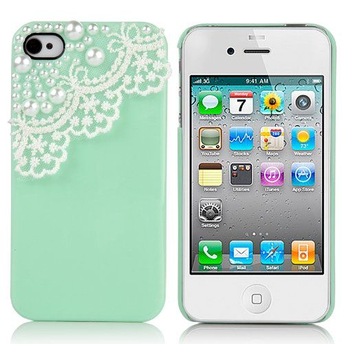 Pandamimi Dexule Green Fashion Sweety Girls Hand Made Hard Case Cover for iPhone 4 4S with Screen Protector- Lace and Pear... for only $2.95