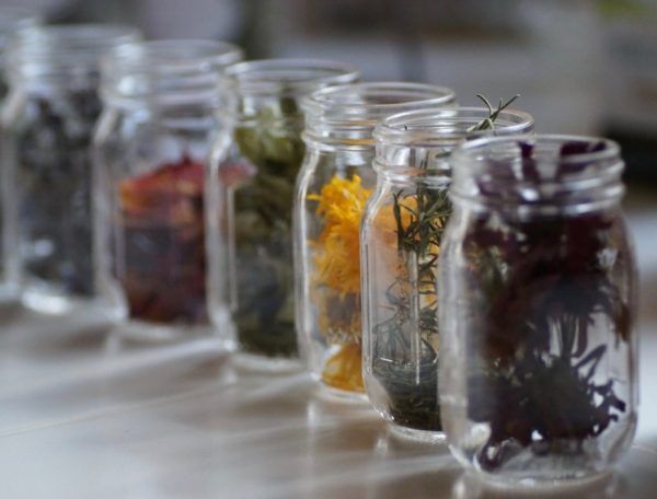 Rainbow jars of herbs