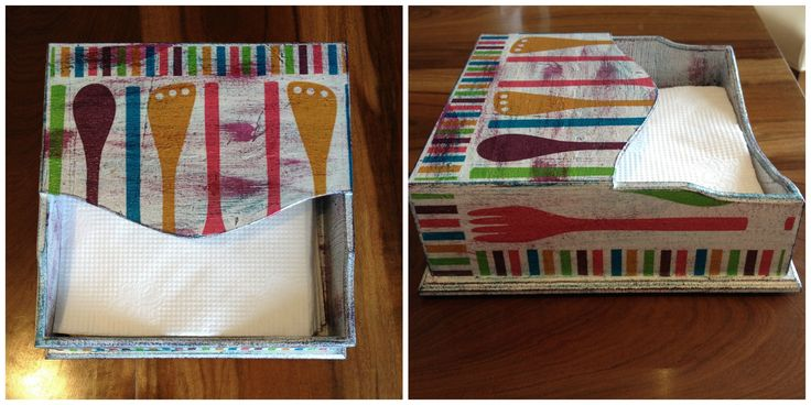 Paper napkin holder. Decoupage