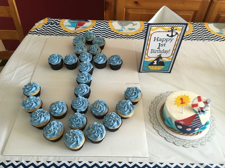 Sailboat and anchor cake; nautical theme baby's first birthday