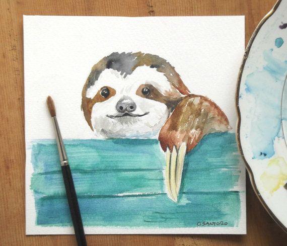 sloth watercolor painting от ollina на Etsy
