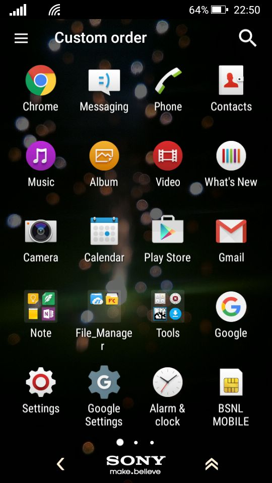 Xperia™ M2 Lollipop 5.1.1 App Drawer Sony Make.Believe Theme along with Windows Phone Launcher running in Background with Xperia Home App.