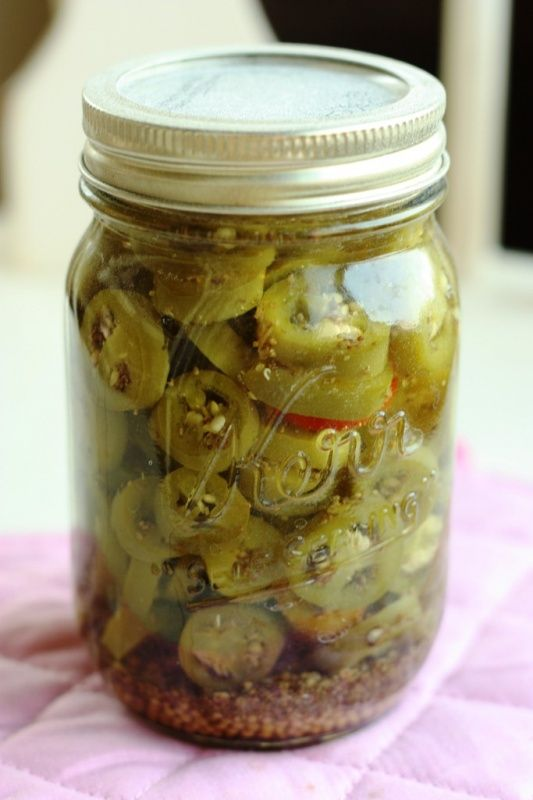 How to Can Jalapenos   Recipes http://www.superhealthykids.com/healthy-kids-recipes/how-to-can-jalapenos.php  2 pound jalapenos 7 cups vinegar 5% (you can use cider vinegar if you want it to be a bit sweeter) 1 3/4 cups water 2 1/2 Tbsp canning salt (the reason you use canning salt is that it won't cloud in your jars like regular salt) 3 Tbsp celery seed 6 Tbsp mustard seed 6 Pint Jars