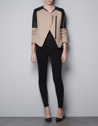 Wool Jacket with Faux Leather Shoulders - ZARA