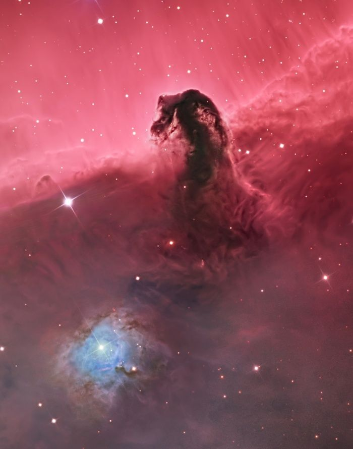 The Horsehead Nebula by Bill Snyder via theguardian: The Horsehead Nebula is one of the most photographed objects in the night sky, but this image draws the eye down to the creased and folded landscape of gas and dust at its base rather than focusing solely on the silhouette of the horse head. #Photography #Astronomy #Horse_Head_Nebula