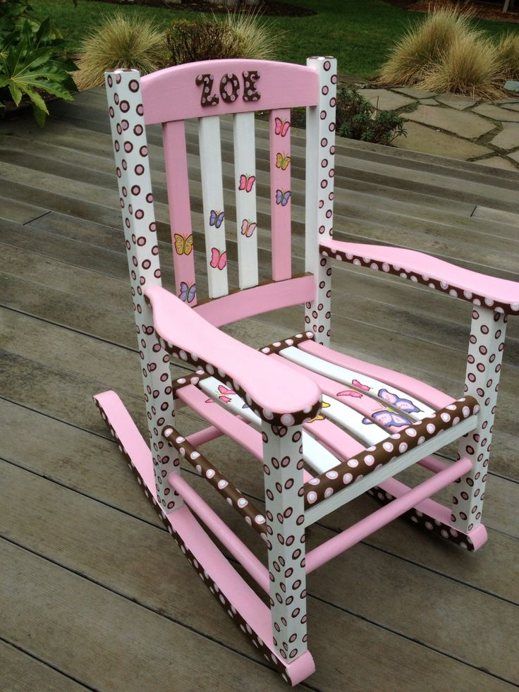 Custom Hand Painted Childrenu0027s Rocking Chair. Colors Are : Pink, Brown And  White