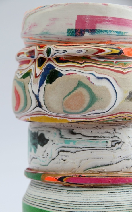 Processed paper vessel by Pia Wustenberg