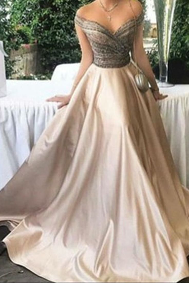 Off shoulder prom dress, ball gown, elegant ivory satin long dress for prom 2017