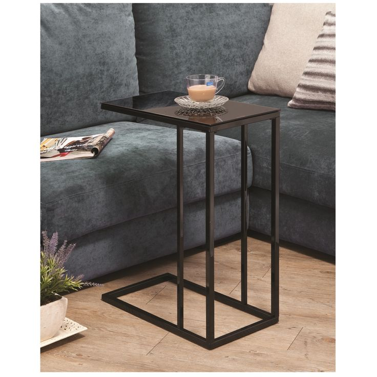 Accent Living Room Snack Sofa Side End Stand Table Glass Top Simple Line    Black