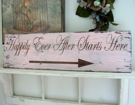 Shabby-Chic-Vintage-Wedding-Happily-Ever-After-Starts-Here-Directional-Ceremony-Sign