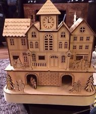 Traditional German Wooden Village Church Light Up Indoor