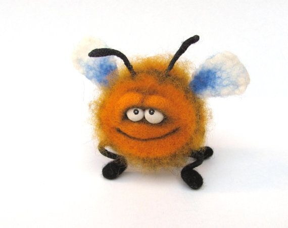 Needle Felted Toy Funny Bee Felt Toys Orange Black by VladaHom, $49.90 I wish God granted me with this talent!