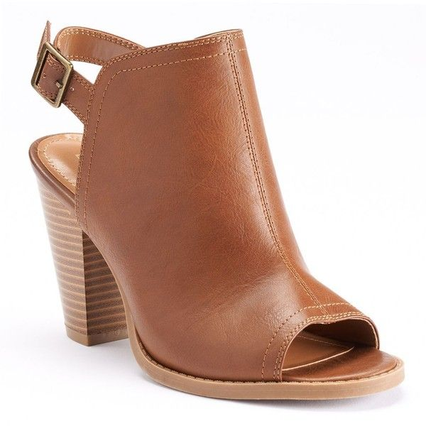 LC Lauren Conrad Women's Peep-Toe Booties ($52) ❤ liked on Polyvore featuring shoes, boots, ankle booties, cognac, peeptoe booties, peep toe boots, cognac boots, synthetic boots and lined boots
