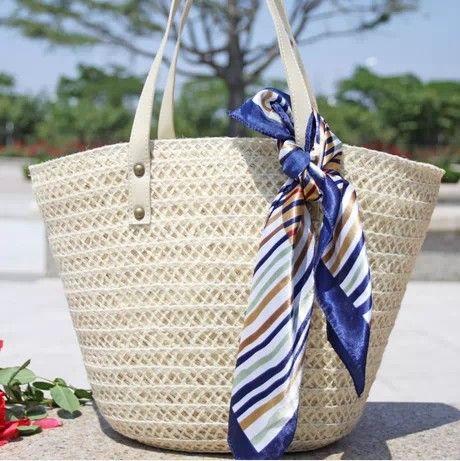 White straw beach handbag fashion woman straw handbags girls free style straw tote bag free shipping $23.99