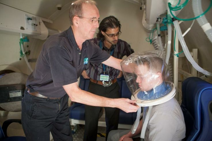 Chamber Supervisor demonstrating the use of an oxygen hood for a patient undergoing hyperbaric oxygen therapy. Image by Plymouth University Peninsula Schools of Medicine & Dentistry.