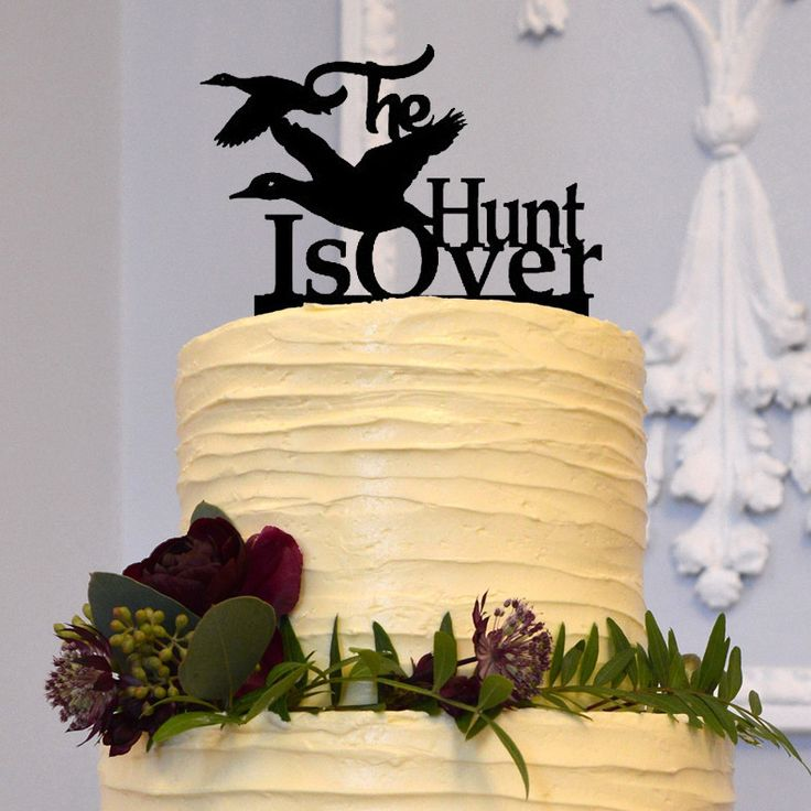 The Hunt Is Over Wedding Cake Topper (Duck Hunting /Country Western Rustic /Engagement) - Features: - Creative Duck Hunting Cake Topper Decoration. - Simple and Elegant. - Perfect for the top tier of