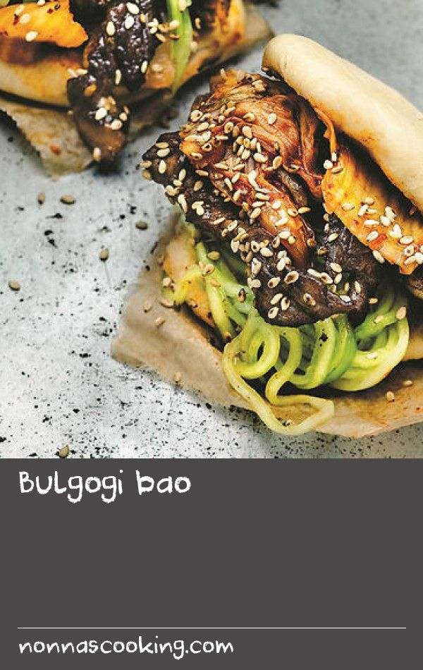 Bulgogi bao | Bulgogi is a delicious Korean grill dish, but it becomes even better served in a bao. Just make sure to buy good-quality meat, which you slice really thinly. Yes, you could even ask your butcher to slice it for you in their super-cool slicing machine. The kimchi you can make yourself or buy from the fridge in an Asian food store.