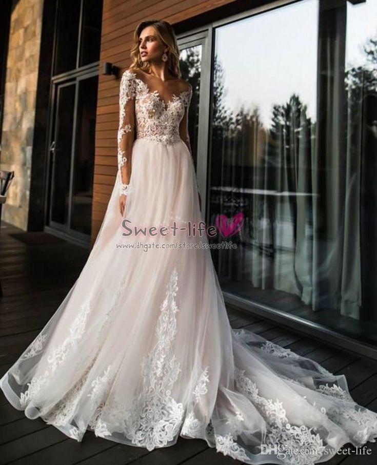 Discount Long Sleeves Light Pink Wedding Dresses Sheer Neck Illusion Bodice Appl…