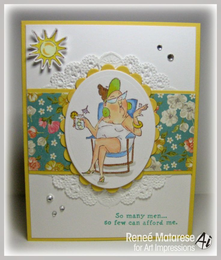 SC0653 Ai Beach Babes. Art Impressions Girlfriends set by Hampton Art at Michael's craft stores. Handmade card.