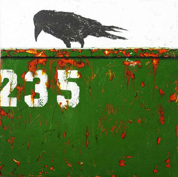 DUMPSTER DIVING III: All About Choices- Contemporary Raven Painting, crow, animal, whimsical bird art, dumpster diving