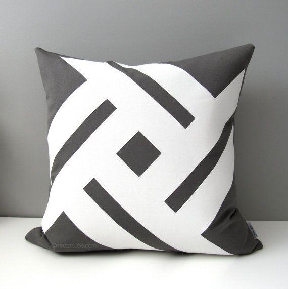 Grey & White Outdoor Pillows in a Modern Pinwheel design! #mazizmuse #sunbrella #modern #pillows #pillow #outdoor